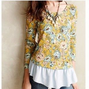 Anthropologie yellow floral layered blouse small